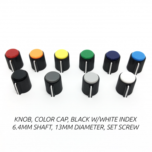 knob, color cap, black w/white index, 6.4mm shaft, 13mm diameter, set screw