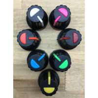 knob, soft touch plastic, black w/color index