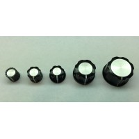 knob, black, no skirt, white index line, silver center