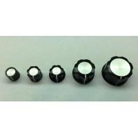 knob, black, no skirt, white index line, silver center