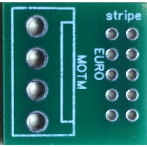 power adapter chiclet pcb, euro 10 pin to MOTM (PCBMZEUROMOTM) by synthcube.com