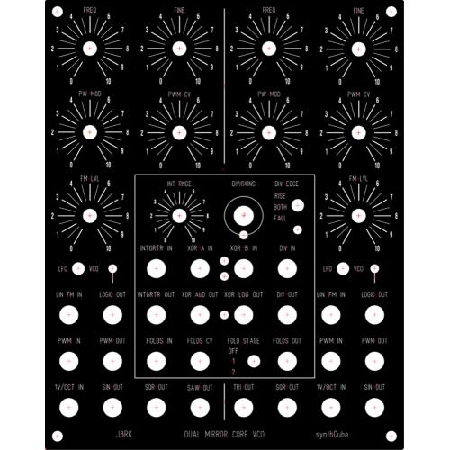 j3rk dual mirror core vco, panel, MOTM, 4U wide (PANDSMVCOMOTM4U) by synthcube.com
