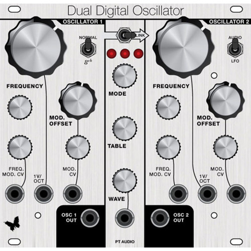 pt audio dual digital oscillator, panel only, euro, 26hp (PANPTDDOXECLK26) by synthcube.com