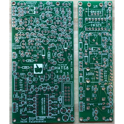 falafular hihat-8, 2-pcb set (PCBFAHHT8NONE02) by synthcube.com