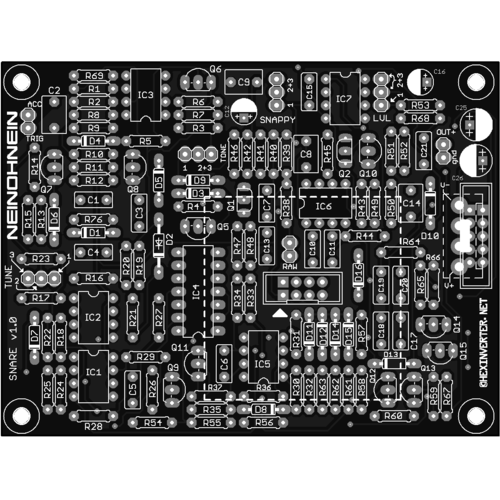 hexinverter snare, pcb (PCBHISNARNONE01) by synthcube.com