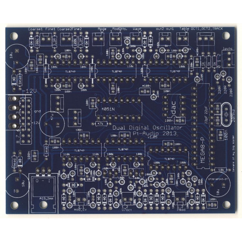 pt audio dual digital oscillator, pcb/chip only (PCBPTDDOXNONE10) by synthcube.com