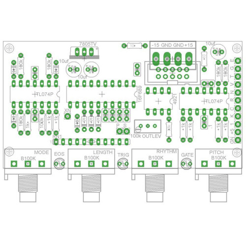 barton auto sequencer, pcb+PIC (PCBMBASEQNONE01) by synthcube.com